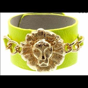 Jewelry - BRACELET LEATHER CLIP METAL METALCHAIN ANIMAL LION